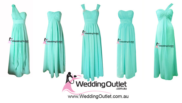 Tiffany blue aqua bridesmaid dresses
