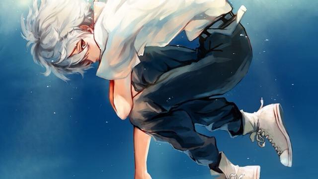 Anime boy white hair yellow eyes