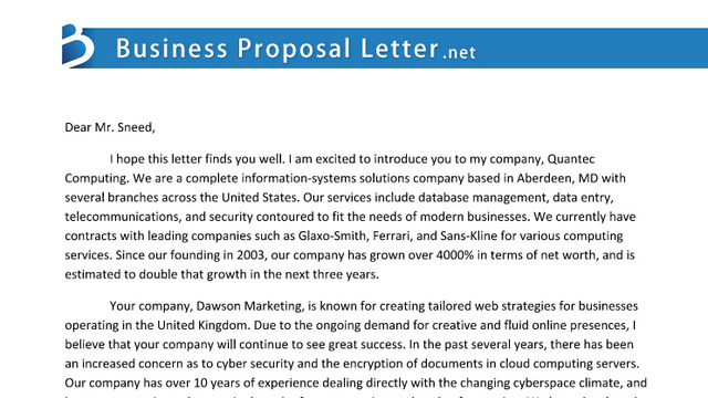 proposal letter letter of proposal