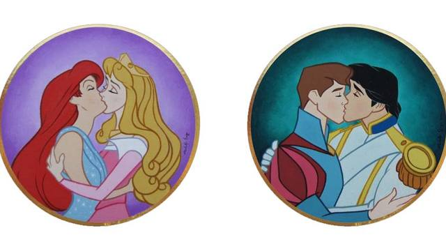 Gay disney princess kissing