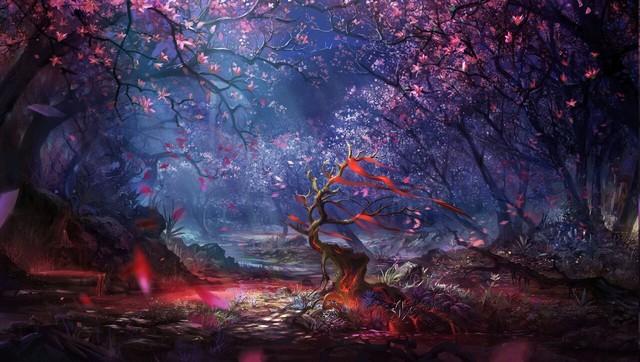 Digital Art Forest Trees Colorful Fantasy Art Artwork Landscape